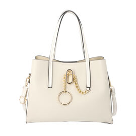 LOCK SOUL Light Grey Handbag with Detachable Shoulder Strap (31x13x23cm)