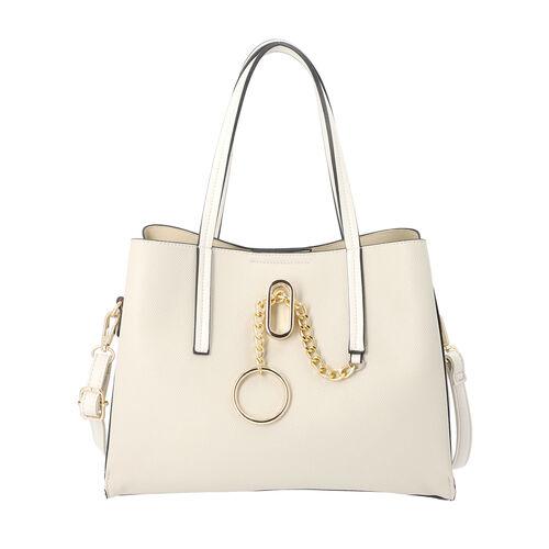 LOCK SOUL Light Grey Handbag with Detachable Shoulder Strap (31x13x23cm)