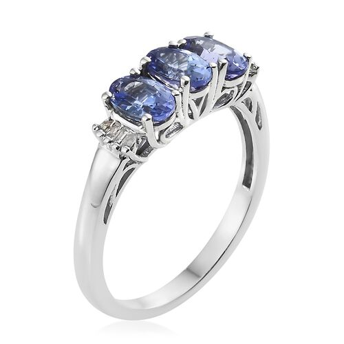 1.35 Ct Tanzanite and Diamond Ring in Platinum Plated Silver