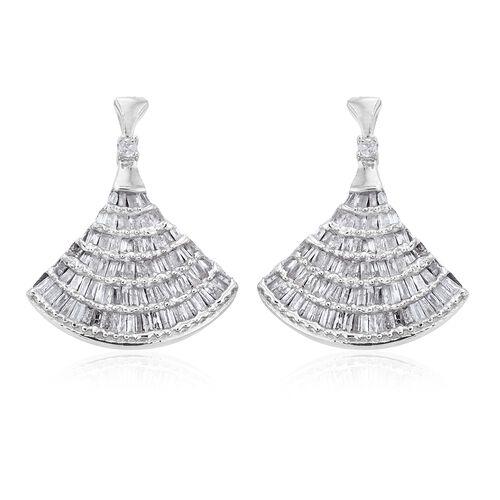Designer Inspired - Diamond (Bgt) Ballerina Earrings (with Push Back) in Platinum Overlay Sterling S