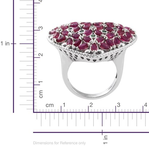Designer Inspired - African Ruby (Mrq), Kagem Zambian Emerald Heart Ring in Platinum Overlay Sterling Silver 5.750 Ct. Silver wt 10.22 Gms.