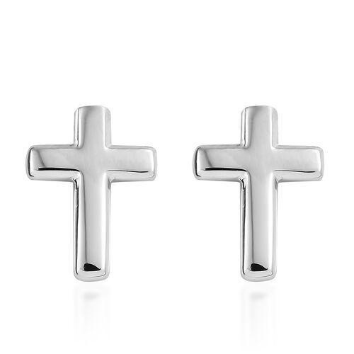 RHAPSODY 950 Platinum Cross Earrings (with Screw Back)