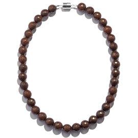Chocolate Agate (Rnd) Beads Necklace (Size 18) in Rhodium Plated Sterling Silver 420.000 Ct.