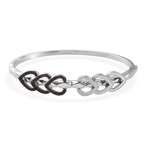 Red Diamond Bangle (Size 7.5) in Platinum Overlay Sterling Silver 0.50 Ct, Silver wt. 20.00 Gms