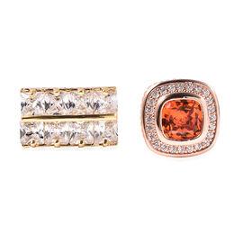 Set of 2 - Simulated Diamond and Simulated Orange Sapphire Cufflinks