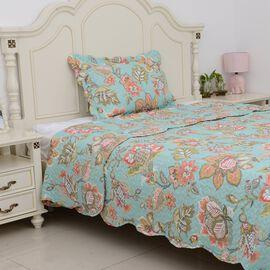 2 Piece Set - Mint and Multi Colour Floral Pattern Quilt (Size Double 240x180 Cm) and Pillow Case (S