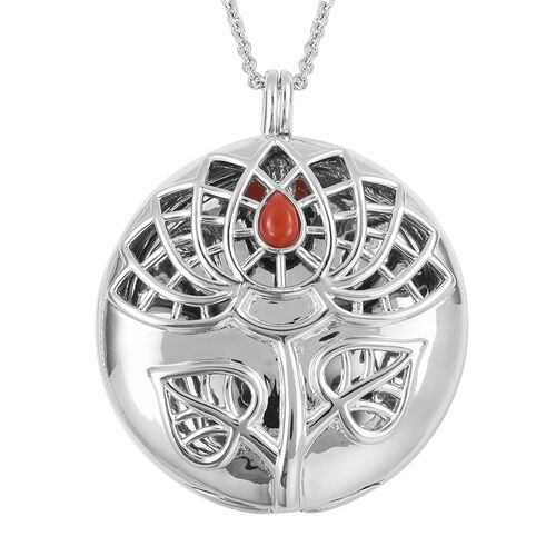 RACHEL GALLEY Red Coral Lotus Circle Pendant With Chain in Rhodium Plated Silver 33.64 Grams