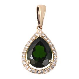 9K Yellow Gold Russian Diopside (Pear 9x7mm), Natural White Cambodian Zircon Pendant  1.91 Ct.