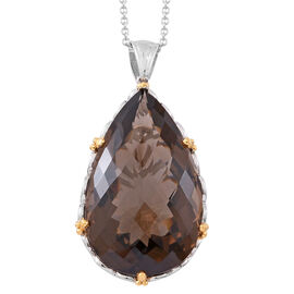 152 Ct Brazilian Smoky Quartz Teardrop Solitaire Pendant with Chain in Rhodium Plated Silver