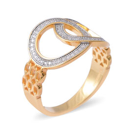 Designer Inspired- ELANZA Simulated Diamond (Rnd) Buckle Ring in Yellow Gold Overlay Sterling Silver