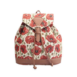 Signare - NEW Rucksack in Poppy Design Backpack (25x13x28 cms) - Beige and Red