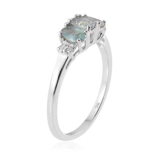 Alexandrite (0.71 Ct) and Diamond 9K W Gold Ring  0.750  Ct.