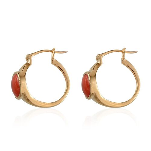 Mediterranean Coral (Cush 7x7 mm) Earrings in 14K Gold Overlay Sterling Silver 2.750 Ct.