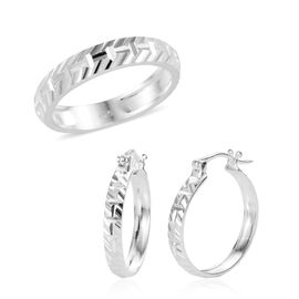 2 Piece Set - Sterling Silver Band Ring and Hoop Earrings (with Clasp), Silver wt 5.78 Gms.