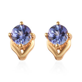 Tanzanite (Rnd) Stud Earrings (with Push Back) in 14K Gold Overlay Sterling Silver 1.00 Ct.