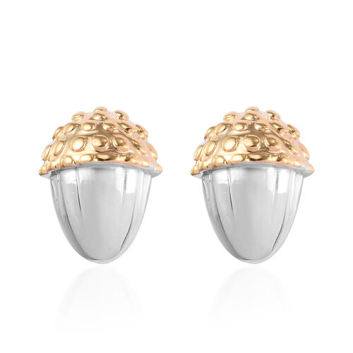 Platinum and Yellow Gold Overlay Sterling Silver Acorn Nut Stud Earrings (with Push Back)