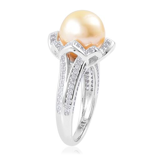 Very Rare South Sea Golden Pearl (Rnd 11-11.5mm), Natural Cambodian White Zircon Ring in Platinum Overlay Sterling Silver