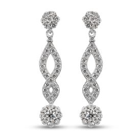 J Francis Platinum Overlay Sterling Silver Dangle Earrings (with Push Back) Made with SWAROVSKI ZIRC