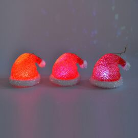 Set of 3 - Christmas Decoration Hat in Multicolour Light (Size 9x9x8 Cm) - Red and White
