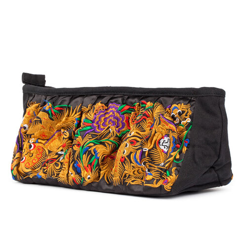 Shanghai Collection Royal Dragon Embroidered Tan Colour Crossbody Bag with Removable Shoulder Strap (Size 27X13X10 Cm)