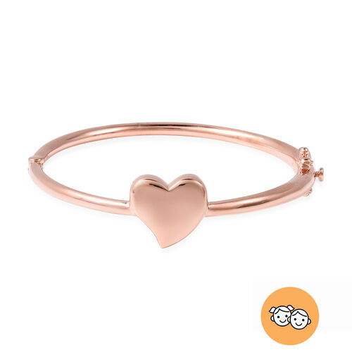 RACHEL GALLEY Rose Gold Overlay Sterling Silver Kids Heart Bangle (Size 6.2), Silver wt 13.95 Gms