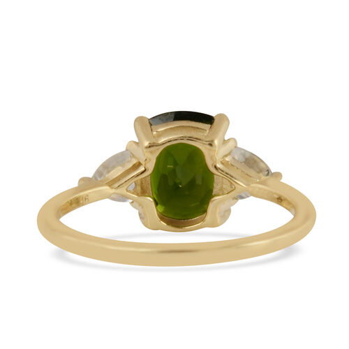 9K Yellow Gold Russian Diopside and Natural Cambodian White Zircon Ring 2.78 Ct.