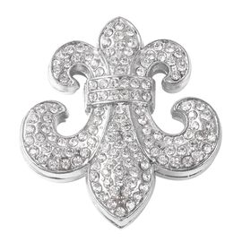 White Austrian Crystal Fleur De Lis Brooch in Silver Tone