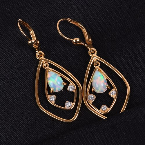 Ethiopian Welo Opal and Natural Cambodian Zircon Lever Back Dangle Earrings in 14K Gold Overlay Sterling Silver 1.25 Ct.