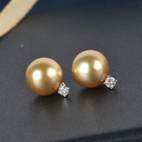 9K Yellow Gold South Sea Pearl and Diamond Earrings