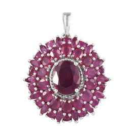 African Ruby (Ovl 10x8 mm) Pendant in Platinum Overlay Sterling Silver 9.000 Ct, Silver wt 5.89 Gms.