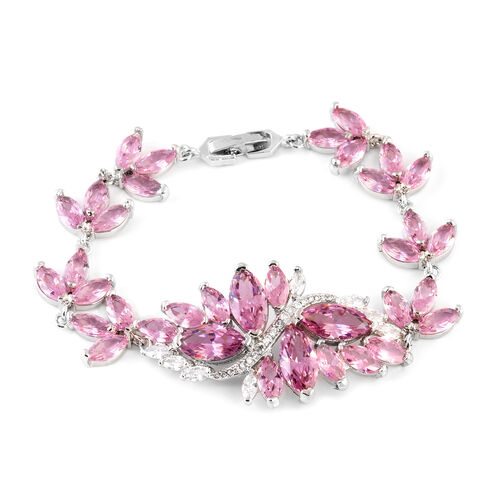 Simulated Pink Sapphire (Mrq), Simulated White Diamond Floral Bracelet (Size 7) in Silver Tone