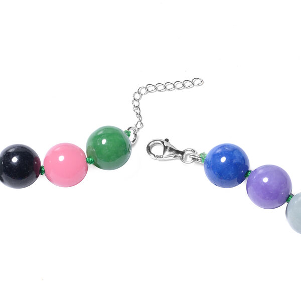 Multi Colour Jade Beads Necklace (Size 24 with 2 inch Extender) in Rhodium Overlay Sterling Silver