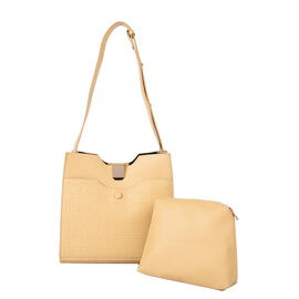 Set of 2 - PASSAGE Croc Embossed Tote bag and Pouch with Zipper Closure (Pouch size: 20x6x18cm and B