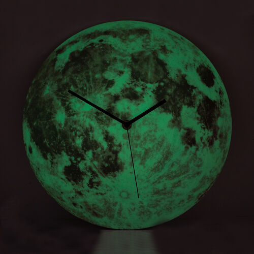 Glow In The Dark - Full Moon Wall Clock Pink  (Size 30 Cm)