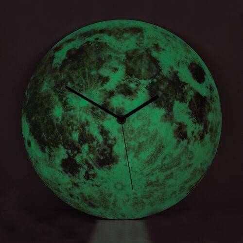 Glow In The Dark - Full Moon Wall Clock Pink  (Size 30 Cm)
