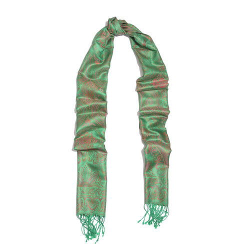 SILK MARK- 100% Superfine Silk Green, Pink and Multi Colour Jacquard Jamawar Scarf with Fringes (Size 180x35 Cm)