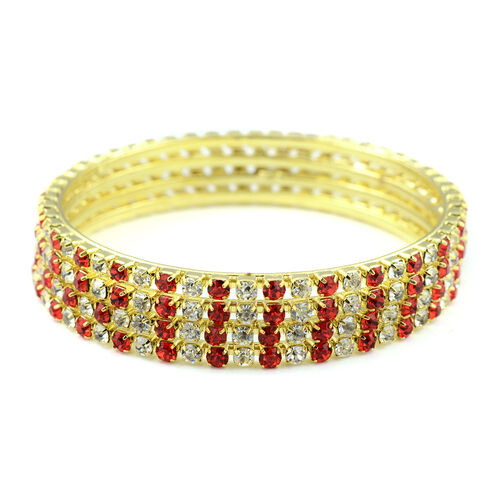 One Time Close Out - 4 Piece Set Simulated Ruby and Diamond (Rnd) Bangle (Size 7.25) in Yellow Gold