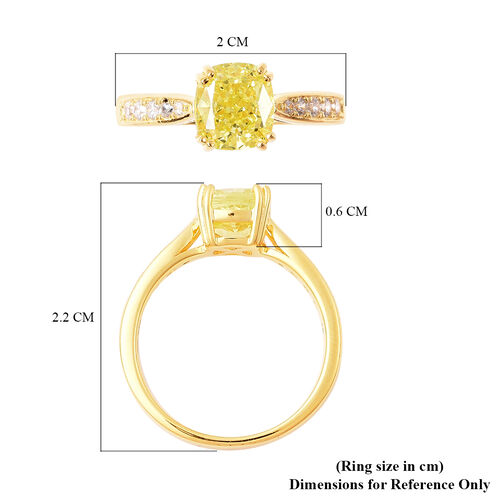 ELANZA Simulated Peridot and Simulated White Diamond Ring in Yellow Gold Overlay Sterling Silver 4.32 Ct.