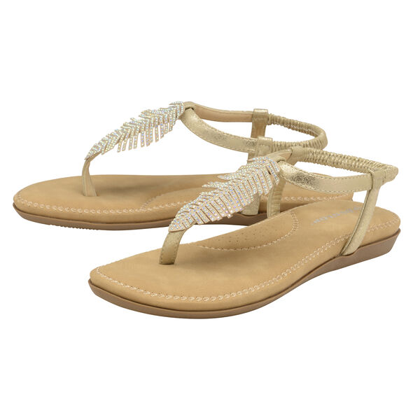 Dunlop Rue Embellished Feather Toe Post Flat Sandals (Size 7) - Pale Gold