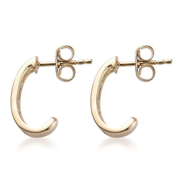 9K Yellow Gold SGL Certified Diamond (Bgt) (I3/G-H) Earrings (with Push Back) 0.330  Ct.