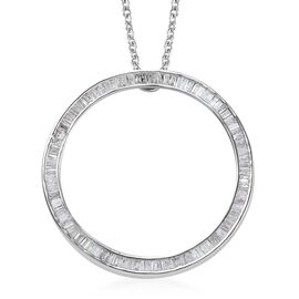 Diamond (Bgt) Circle Pendant with Chain (Size 20) in Platinum Overlay Sterling Silver 1.00 Ct.