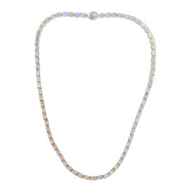 20 Carat Ethiopian Opal and Diamond Tennis Necklace in Platinum Plated Sterling Silver 22.80 Grams