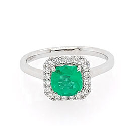 RHAPSODY 950 Platinum AAAA Boyaca Colombian Emerald (Cush 6.45x6.30mm), Diamond (VS/E-F) Ring 1.156