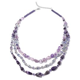 750 Carat Amethyst and Multi Gemstone Multi Strand Necklace 29.5 with 3 inch Extender