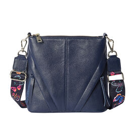 100% Genuine Leather Crossbody Bag with Patterned Shoulder Strap (23x7x22cm) -  Navy