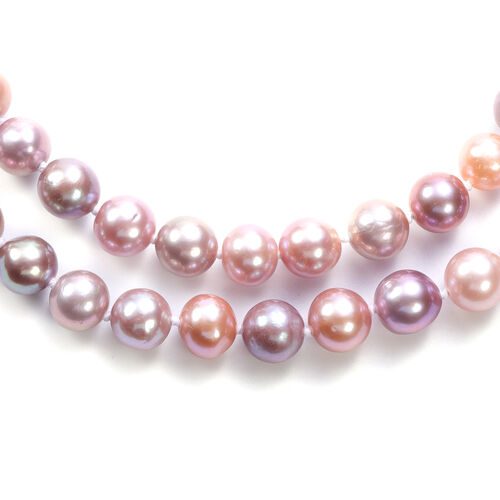 Multi Colour Edison Pearl Necklace (Size 20 with Magnetic Lock) in Sterling Silver