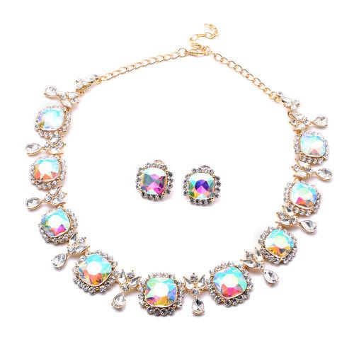 2 Piece Set - Simulated Rainbow Moonstone, Simulated Diamond and White Austrian Crystal Stud Earring