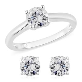 Value Buy - 2 Piece Set - J Francis Sterling Silver Solitaire Ring and Stud Earrings (with Push Back