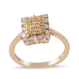 0.50 Ct Yellow and White Cluster Diamond Ring in 9K Yellow Gold