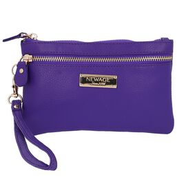 100% Genuine Leather Wristlet  Pouch with Zipper Closure (Size 12x18 Cm) - Purple